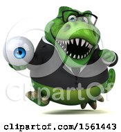 Clipart Of A 3d Green Business T Rex Dinosaur Holding An Eye On A White Background Royalty Free Illustration