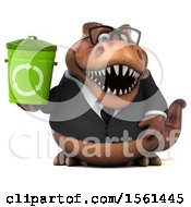 Clipart Of A 3d Brown Business T Rex Dinosaur Holding A Recycle Bin On A White Background Royalty Free Illustration