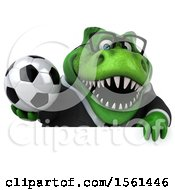 Clipart Of A 3d Green Business T Rex Dinosaur Holding A Soccer Ball On A White Background Royalty Free Illustration