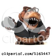 Clipart Of A 3d Brown Business T Rex Dinosaur Holding A Cloud On A White Background Royalty Free Illustration