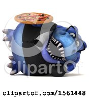 Clipart Of A 3d Blue Business T Rex Dinosaur Holding A Pizza On A White Background Royalty Free Illustration