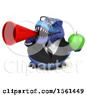 Clipart Of A 3d Blue Business T Rex Dinosaur Holding An Apple On A White Background Royalty Free Illustration
