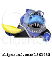 Clipart Of A 3d Blue Business T Rex Dinosaur Holding A Banana On A White Background Royalty Free Illustration