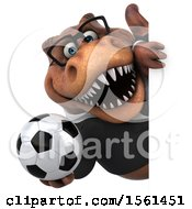 Clipart Of A 3d Brown Business T Rex Dinosaur Holding A Soccer Ball On A White Background Royalty Free Illustration