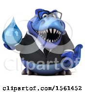 Clipart Of A 3d Blue Business T Rex Dinosaur Holding A Water Drop On A White Background Royalty Free Illustration