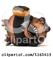 Clipart Of A 3d Brown Business T Rex Dinosaur Holding A Donut On A White Background Royalty Free Illustration