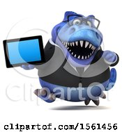 Clipart Of A 3d Blue Business T Rex Dinosaur Holding A Tablet On A White Background Royalty Free Illustration