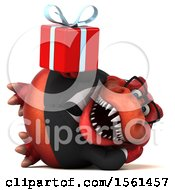 Clipart Of A 3d Red Business T Rex Dinosaur Holding A Gift On A White Background Royalty Free Illustration