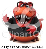 Clipart Of A 3d Red Business T Rex Dinosaur Holding Up A Middle Finger On A White Background Royalty Free Illustration