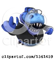 Clipart Of A 3d Blue Business T Rex Dinosaur Holding Up A Middle Finger On A White Background Royalty Free Illustration