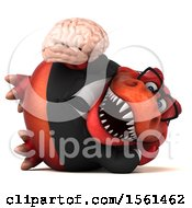 Clipart Of A 3d Red Business T Rex Dinosaur Holding A Brain On A White Background Royalty Free Illustration