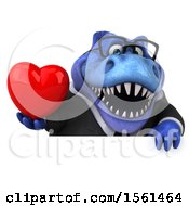 Clipart Of A 3d Blue Business T Rex Dinosaur Holding A Heart On A White Background Royalty Free Illustration