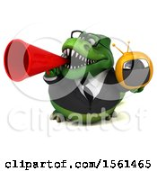 Clipart Of A 3d Green Business T Rex Dinosaur Holding A Tv On A White Background Royalty Free Illustration