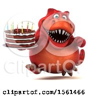 Clipart Of A 3d Red T Rex Dinosaur Holding A Birthday Cake On A White Background Royalty Free Vector Illustration