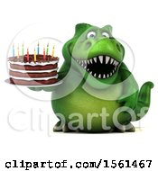 Clipart Of A 3d Green T Rex Dinosaur Holding A Birthday Cake On A White Background Royalty Free Vector Illustration