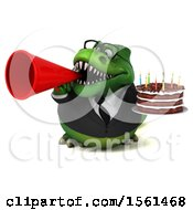 Clipart Of A 3d Green Business T Rex Dinosaur Holding A Birthday Cake On A White Background Royalty Free Vector Illustration