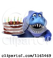 Clipart Of A 3d Blue T Rex Dinosaur Holding A Birthday Cake On A White Background Royalty Free Vector Illustration
