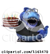 Clipart Of A 3d Blue Business T Rex Dinosaur Holding A Birthday Cake On A White Background Royalty Free Vector Illustration