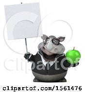Clipart Of A 3d Business Rhinoceros Holding An Apple On A White Background Royalty Free Illustration by Julos