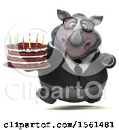 Clipart Of A 3d Business Rhinoceros Holding A Birthday Cake On A White Background Royalty Free Illustration by Julos