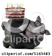 Clipart Of A 3d Business Rhino Holding A Birthday Cake On A White Background Royalty Free Vector Illustration by Julos
