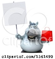 Clipart Of A 3d Chubby White Horse Holding A Shopping Bag On A White Background Royalty Free Illustration
