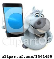3d Chubby White Horse Holding A Cell Phone On A White Background