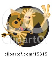 Happy Boy Flashing A Peace Sign While Hugging His Dog Clipart Illustration