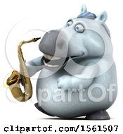 3d Chubby White Horse Holding A Saxophone On A White Background