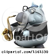 3d Chubby White Business Horse Holding A Saxophone On A White Background
