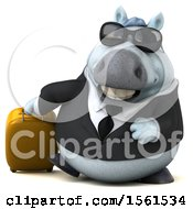 3d Chubby White Business Horse Traveling On A White Background