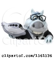 Clipart Of A 3d Chubby White Business Horse Holding A Plane On A White Background Royalty Free Illustration