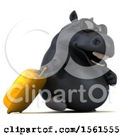 3d Chubby Black Horse Traveling On A White Background