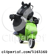 Clipart Of A 3d Chubby Black Business Horse Riding A Scooter On A White Background Royalty Free Illustration