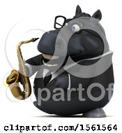 3d Chubby Black Business Horse Holding A Saxophone On A White Background