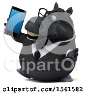 3d Chubby Black Business Horse Holding A Cell Phone On A White Background