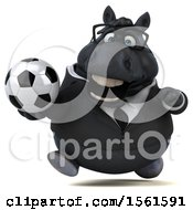 3d Chubby Black Business Horse Holding A Soccer Ball On A White Background