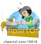 Clumsy Woman Spilling A Cup Of Coffee All Over Important Paperwork On Her Desk At The Office Clipart Illustration