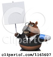 3d Chubby Brown Business Horse Holding A Pill On A White Background