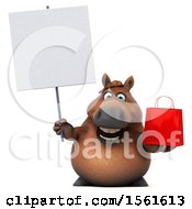 3d Chubby Brown Horse Holding A Shopping Bag On A White Background