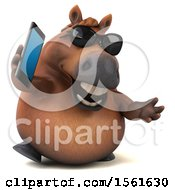 3d Chubby Brown Horse Holding A Cell Phone On A White Background
