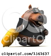 3d Chubby Brown Business Horse Traveling On A White Background
