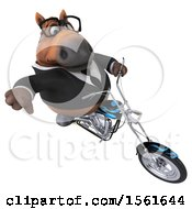 3d Chubby Brown Business Horse Biker Riding A Chopper Motorcycle On A White Background