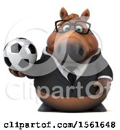 3d Chubby Brown Business Horse Holding A Soccer Ball On A White Background
