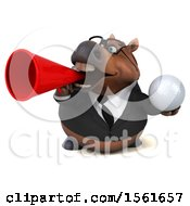 3d Chubby Brown Business Horse Holding A Golf Ball On A White Background