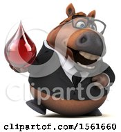 Clipart Of A 3d Chubby Brown Business Horse Holding A Blood Drop On A White Background Royalty Free Illustration