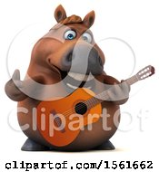 3d Chubby Brown Horse Holding A Guitar On A White Background