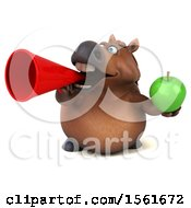 Clipart Of A 3d Chubby Brown Horse Holding An Apple On A White Background Royalty Free Illustration by Julos