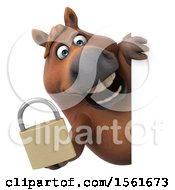 Clipart Of A 3d Chubby Brown Horse Holding A Padlock On A White Background Royalty Free Illustration by Julos