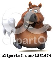 Clipart Of A 3d Chubby Brown Horse Holding A Tooth On A White Background Royalty Free Illustration by Julos